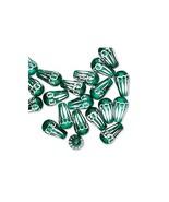 Green Flashy Diamond-Cut Aluminum 10x6mm Teardrop Beads  5 Pieces - $0.00