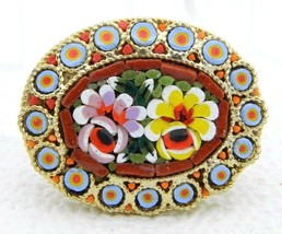 Vintage Gold Toned Micro Mosaic Floral Flowers Glass Purple Yellow Pin B... - $39.60