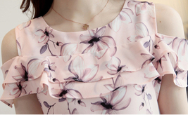 2017 Women Off Shoulder Short Sleeve Blouses Print Floral Chiffon Shirts Casual  image 6