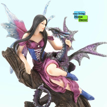 MYTHICAL FAIRY AND DRAGON SITTING ON TREE TRUNK Statue Sculpture Figurine - $44.50