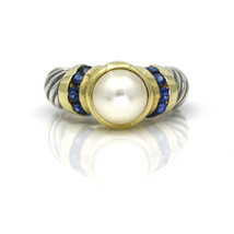 David Yurman Vintage Pearl Sapphire Ring in Sterling Silver 14k Yellow Gold - $509.60