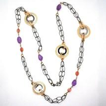 Halskette Silber 925, Brüniert und Pink, Kreise, Amethyst, Achat, Länge 100 CM image 2