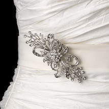 Vintage Silver Spring Butterfly Bridal Belt Wedding Rhinestone Sash Brooch - $73.10