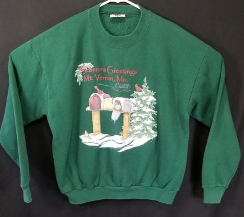 Lee Size Large Cotton Blend Ugly Christmas Green Seasons Greeting Sweatshirt