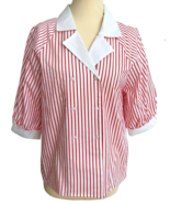 80s Vtg 100% Cotton Red & White Striped Nautical Sailor Puffed Sleeve Bl... - $32.00