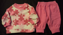 Girl's Size 0-3 M Months 2 Pc Pink Puzzle Place NWT Top & Pink Carter's ... - $16.00