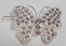 """2"""" LARGE SILVERTONE BUTTERFLY CRYSTAL BARRETT OR CLIP IN HAIR OR MANY ITEMS - €4,61 EUR"""