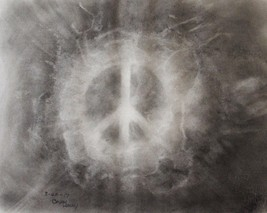 "Charcoal chalk drawing doodle by Hudson Valley artist Bryan Henry ""World Peace"""