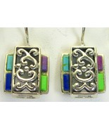 Vintage Turquoise + Coral + Lapis Sterling Silver Dangle Earrings Artist... - $123.00
