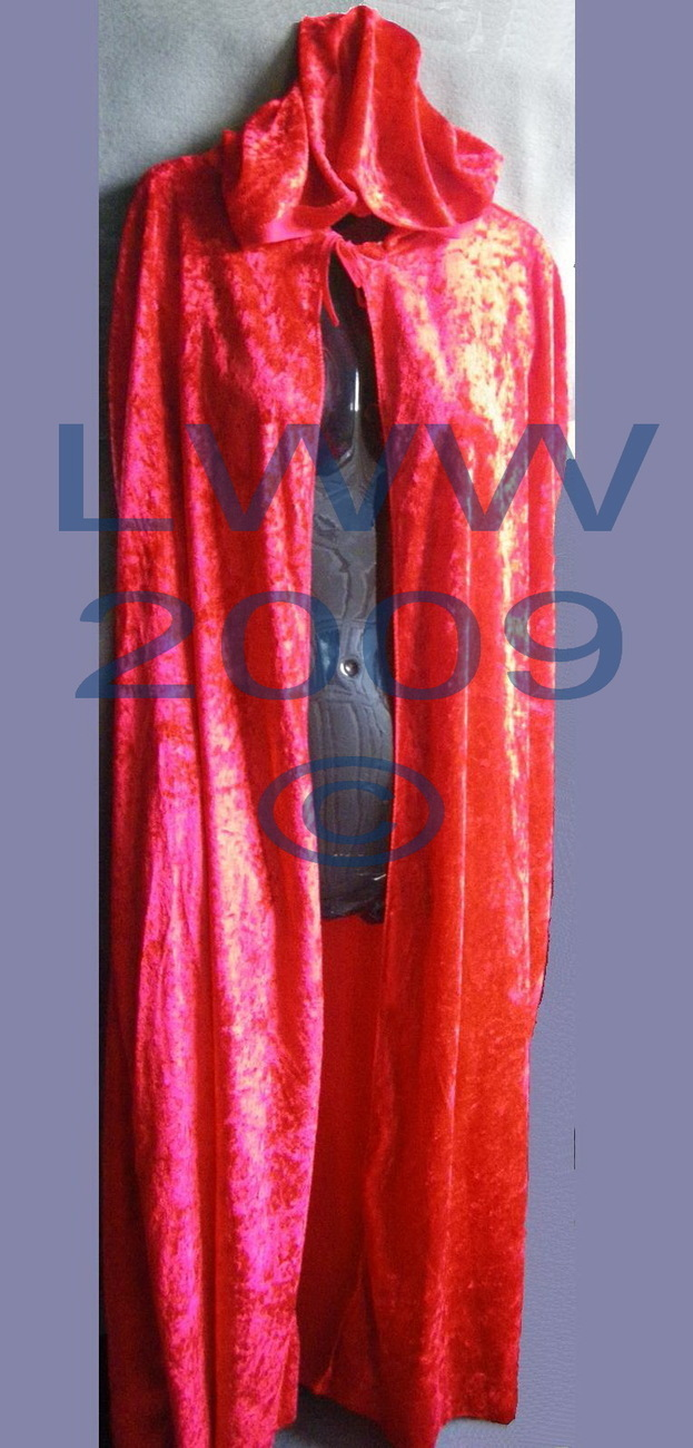 "Red Velvet Halloween ADULT Cape Cloak 48"" long NEW"