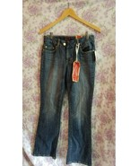 Jessica Simpson blue denim rose embroidered bootcut jeans  sz 6 - $23.36