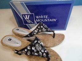 NIB White Mountain Wedge Thong Jewel Embellished Sandal Black 7-10 Org $69 - $18.69