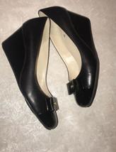 COLE HAAN Women's sz US 7 B Grand G17 Black Leather Wedge Pumps Shoes - $25.20