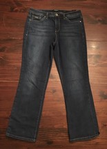 Women's Nine West Denim Jeans Wide Cuff Crop Sz 6 Taylor Capri dark wash... - $14.00