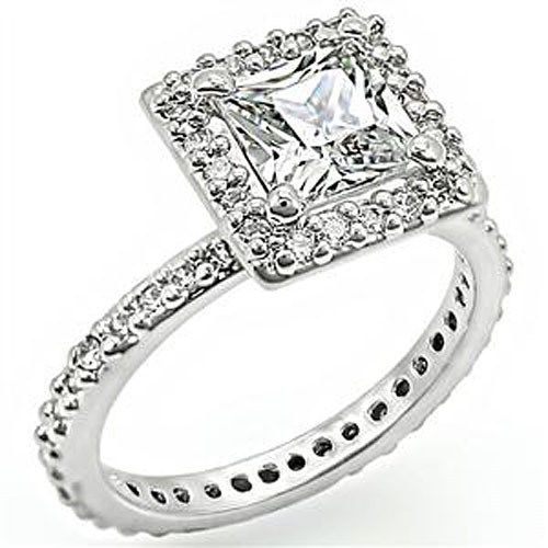 Silver Tone Princess Cut Cubic Zirconia Engagement Ring - SIZE 6, 7