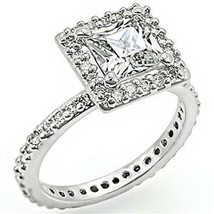 Silver Tone Princess Cut Cubic Zirconia Engagement Ring - SIZE 6, 7 image 1