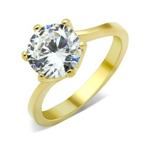 Gold Tone 4 Carat Cubic Zirconia Engagement Ring - SIZE 9 OR OTHER SIZES