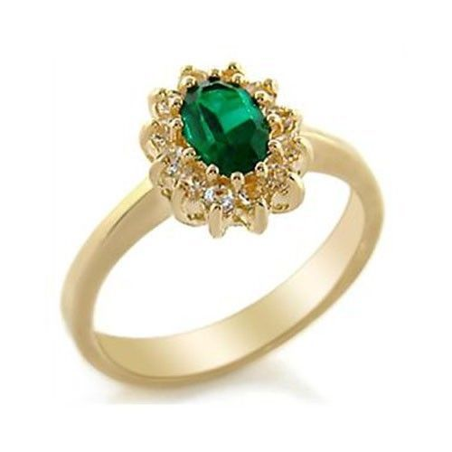 Gold Tone Oval Emerald Green Cubic Zirconia Ring -  SIZE 5, 6
