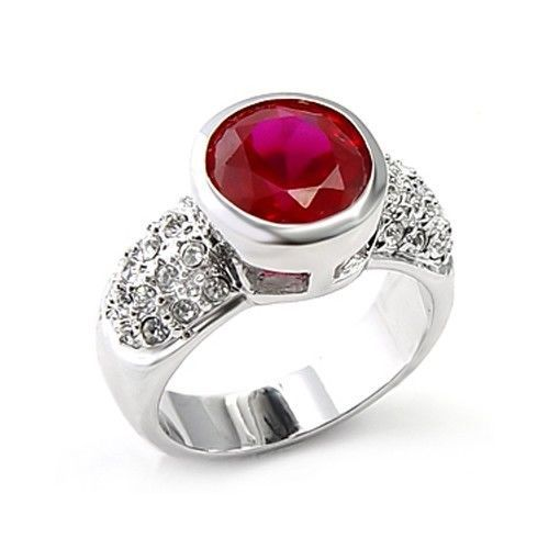 Silver Tone Bezel Setting Ruby Red Solitaire Cubic Zirconia Ring - SIZE 9, 10