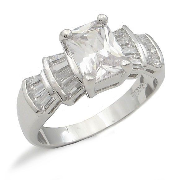 CZ ENGAGEMENT RING - Radiant Cut Cubic Zirconia Ring - SIZE 5, 6, 8