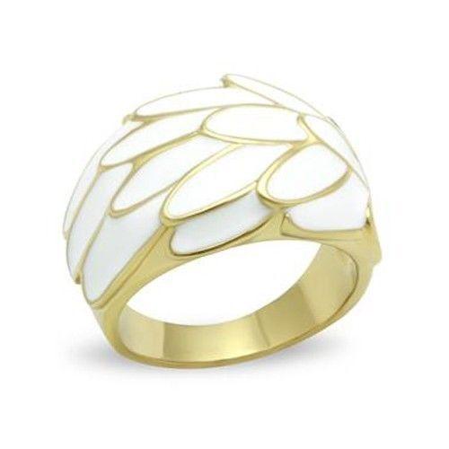 GOLD TONE RING - White Enamel Modern Dome Style Ring - SIZE 5, 7