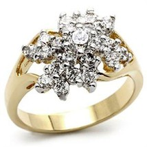 Gold Tone Cluster Cubic Zirconia Right Hand Ring - SIZE 7 OR OTHER SIZES image 1