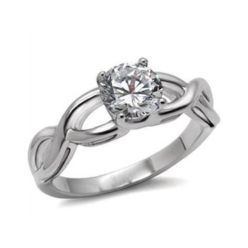 Never Fade Stainless Steel 2.30 Carat CZ Solitaire Engagement Ring -SIZE 5, 6, 9