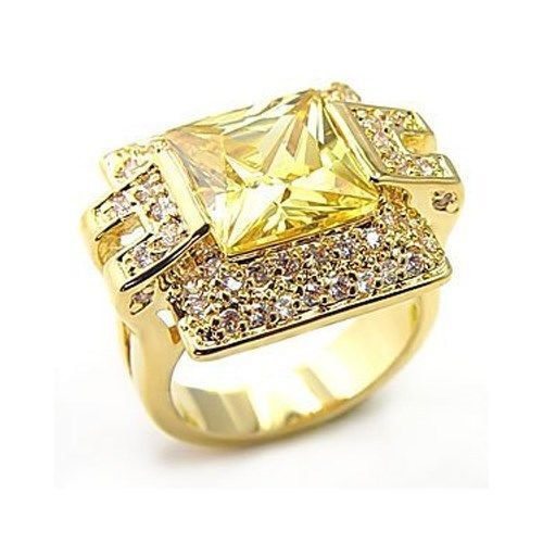 Gold Tone Princess Cut Yellow Cubic Zirconia Ring - SIZE 5, 6 (LAST 1)