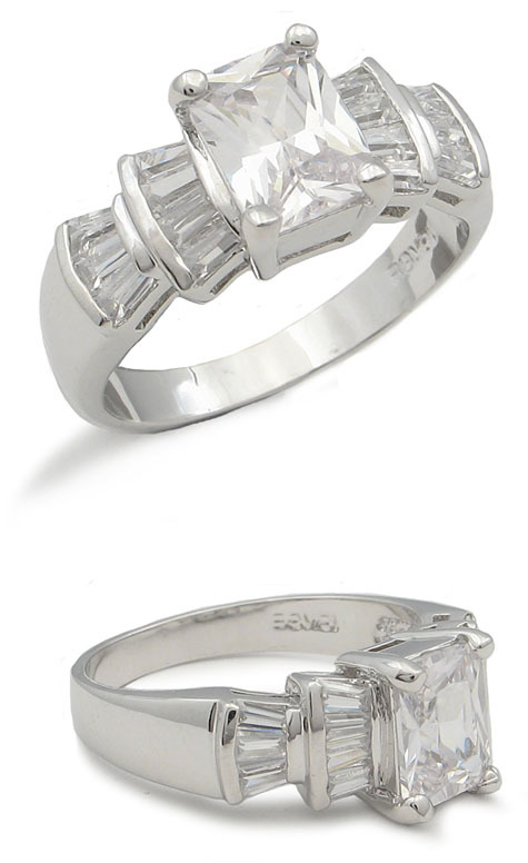 CZ ENGAGEMENT RING - Radiant Cut Cubic Zirconia Ring - SIZE 5, 6, 8 image 2