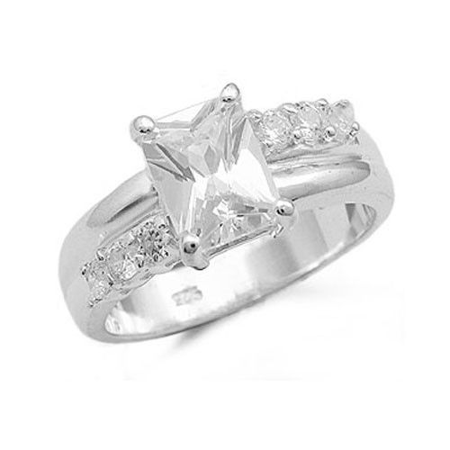Sterling Silver Radiant Cut Cubic Zirconia Engagement Ring -SIZE 5 (last one)