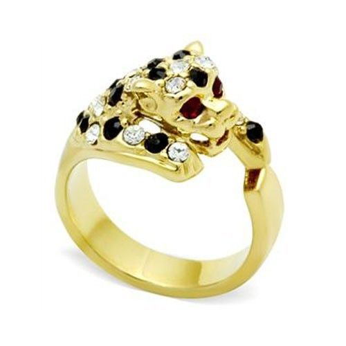 Two Tone Crystal Panther Leopard Cat Animal Ring - SIZE 7 (last one)