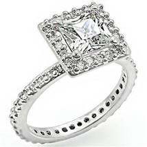 Silver Tone Princess Cut Cubic Zirconia Engagement Ring - SIZE 6, 7 image 2