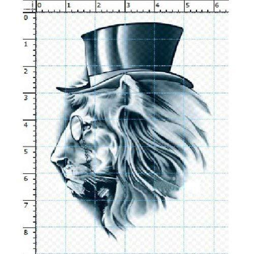 Set of 4 Cool Mr.Lion with Glasses&Hat Tattoos Body Tattoo Stickers Fake Tattoos