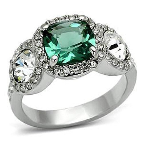 Three Stone Green and Clear Cubic Zirconia Ring SIZE 7, 8