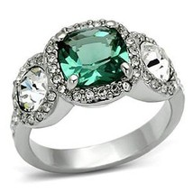 Three Stone Green and Clear Cubic Zirconia Ring SIZE 7, 8 image 1