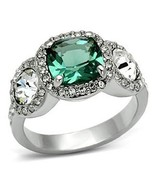 Three Stone Green and Clear Cubic Zirconia Ring SIZE 7, 8 - $17.54