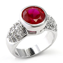 Silver Tone Bezel Setting Ruby Red Solitaire Cubic Zirconia Ring - SIZE 9, 10 image 2