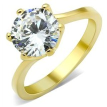 Gold Tone 4 Carat Cubic Zirconia Engagement Ring - SIZE 9 OR OTHER SIZES image 2