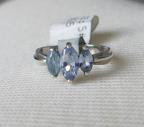 Sterling Silver 3 Blue Marquise Cubic Zirconia Ring - SIZE 5 (LAST ONE)