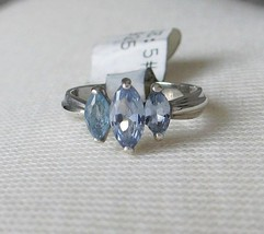 Sterling Silver 3 Blue Marquise Cubic Zirconia Ring - SIZE 5 (LAST ONE) - $19.49