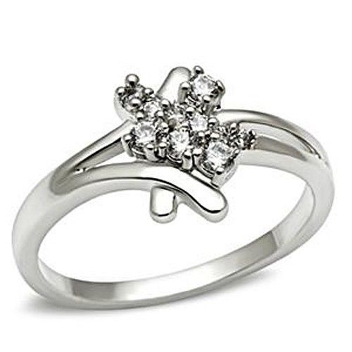 Silver Tone Cute Cluster Cubic Zirconia Ring - SIZE 5 TO 9