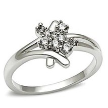 Silver Tone Cute Cluster Cubic Zirconia Ring - SIZE 5 TO 9 image 1