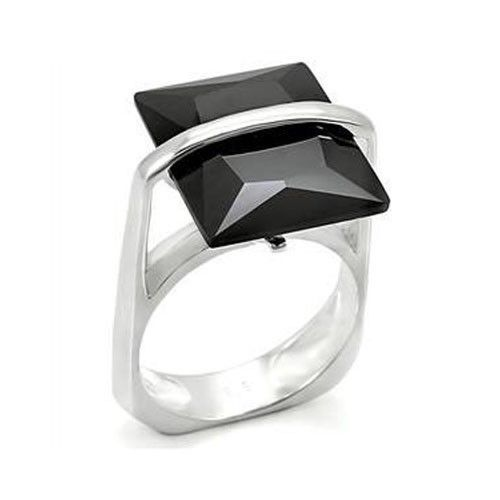 STERLING SILVER Step Cut Black Simulated Onyx Cubic Zirconia Ring SIZE 8, 9