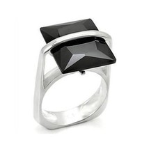 STERLING SILVER Step Cut Black Simulated Onyx Cubic Zirconia Ring SIZE 8, 9 - $22.27