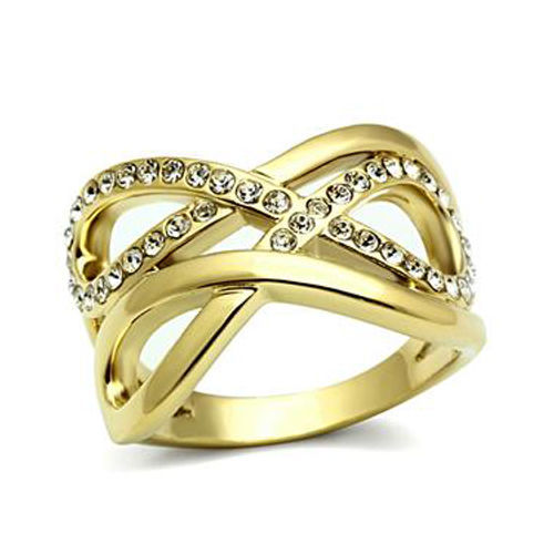 Infinity IP Gold Tone Crystal Band Ring - SIZE 6 OR OTHER SIZES