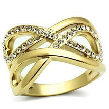 Infinity IP Gold Tone Crystal Band Ring - SIZE 6 OR OTHER SIZES image 2