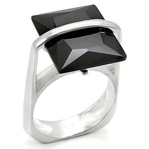 STERLING SILVER Step Cut Black Simulated Onyx Cubic Zirconia Ring SIZE 8, 9 image 2