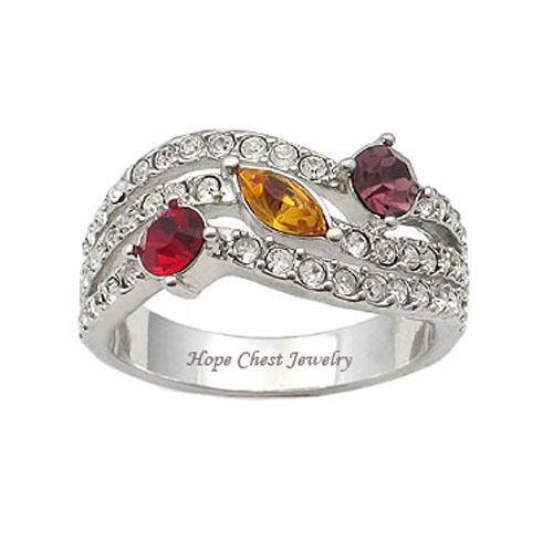 Silver Tone Designer Inspired Multicolor Cubic Zirconia Ring - SIZE 5, 8, 9