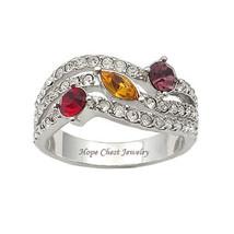 Silver Tone Designer Inspired Multicolor Cubic Zirconia Ring - SIZE 5, 8, 9 image 1