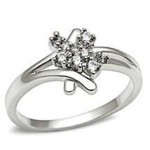 Silver Tone Cute Cluster Cubic Zirconia Ring - SIZE 5 TO 9 image 2